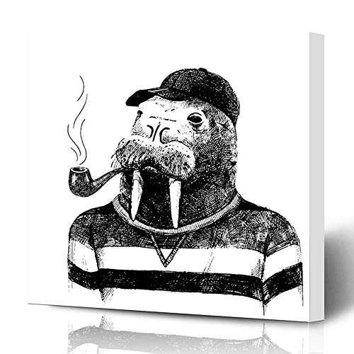 Ahawoso Canvas Prints Wall Art 12x16 Inches Dressed Sketch Walrus Hipster Greeting Vintage Graphic Head Anthropomorphic Design Cute Decor for Living Room Office Bedroom