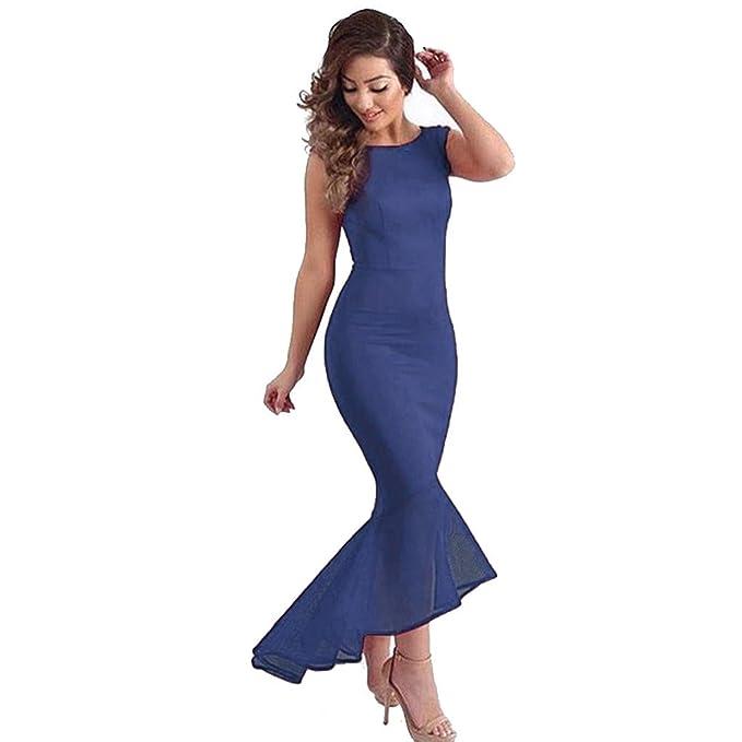 Vestido sin mangas de cola de sirena para mujer, vestido formal ...