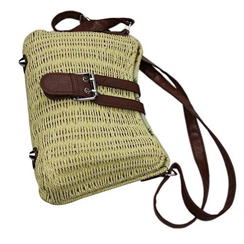 Purse Beach Retro Straw Beige Tonwhar Bag Hand woven Crossbody 5q00aw4