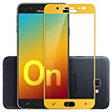 CareFone Samsung Galaxy On7 Prime Tempered Glass, Screen To Screen Fit Full Tempered Glass, 2.5D Curved Glass (Samsung Galaxy On7 Prime, Gold)