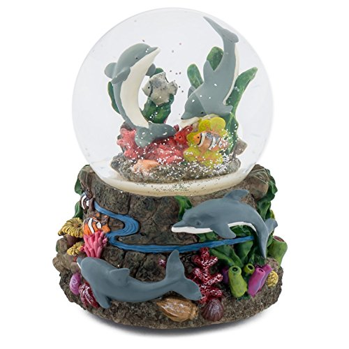 100 Mm Snow - Dolphin World Coral Reef 100MM Music Water Globe Plays Tune Somewhere Out There