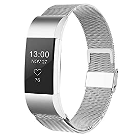 CCnutri Compatible with Fitbit Charge 2 Bands, Stainless Steel Loop Metal Mesh Bracelet for Fitbit Charge 2 Replacement Wristbands for Women Men, Large Small