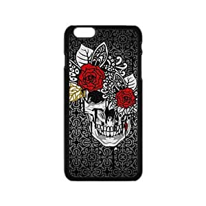 Creative Red Flowers Skull Custom Protective Hard Phone Cae For Iphone 6
