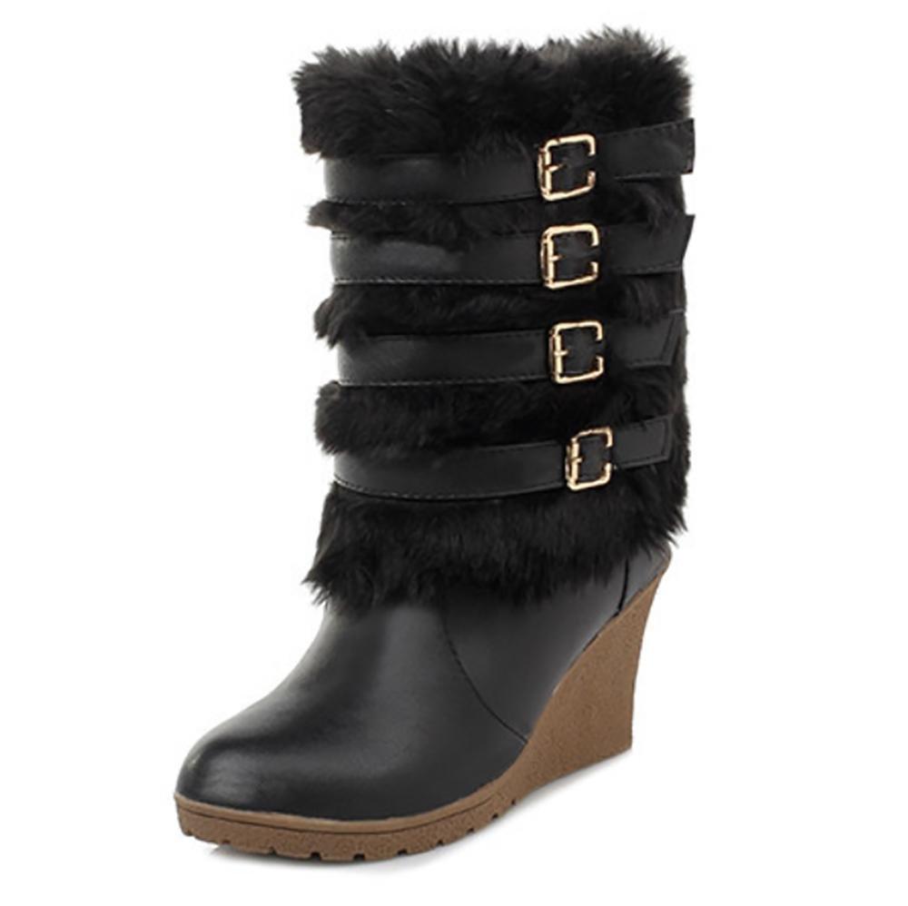SHANGXIAN Damen Long Fur CoveROT Regen Pelz Gefüttert Winter Warm Tall Schnee Stiefel