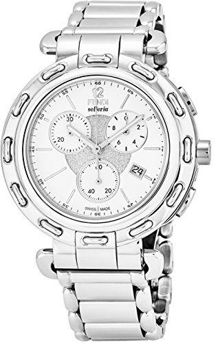 Fendi Selleria Mens Stainless Steel Swiss Chronograph Watch with Selleria Horse Logo on Back - White Face Analog Quartz Fashion Dress Watch For Men with Interchangeable Band - Fendi Clearance
