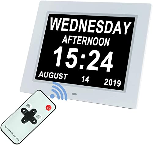 Upgraded 10 Inch Digital Day Calendar Clock Auto-Diming 8 Alarms Options Extra Large Non-Abbreviations Dementia Impaired Vision Senior Clocks for Memory Loss Alzheimer Eldarly