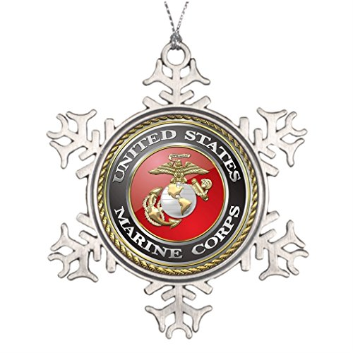 (Xixitly Personalised Christmas Tree Decoration USMC Emblem Uniform 3D Usmc Seal Uniform 3D Unusual Garden Snowflake)