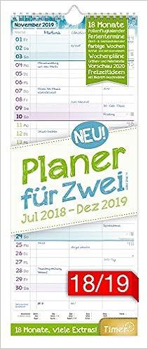 Planer f/ür Zwei 2018//2019 17x42cm Wandkalender 18 Monate Juli 2018-Dezember 2019 viele Zusatzinfos Wandplaner Ch/äff-Timer Ferientermine 3 Spalten