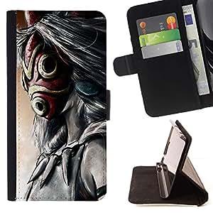 Momo Phone Case / Flip Funda de Cuero Case Cover - Totem máscara de dibujos animados;;;;;;;; - Samsung Galaxy Note 5 5th N9200