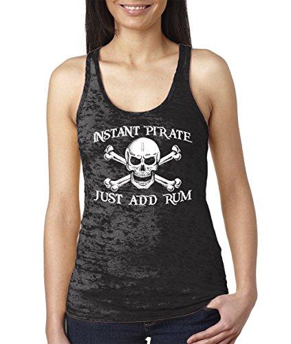 Women's Instant Pirate, Just Add Rum Burnout Racerback Tank Top (Black, Medium)]()