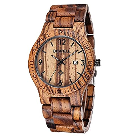 Bewell Wood Men Watch Quartz Movement Day Display Lightweight Vintage Wristwatch (Zebra Wood) (30mm Watch Face Protector)