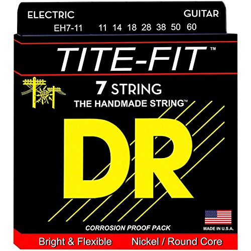 DR Strings, 11-60 Heavy Set Handmade Tite Fit Coated 7 Electric Strings (EH711)