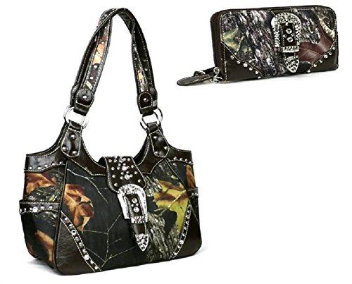DH Concealed Carry Camo Rhinestone Buckle Purse Wallet Set (Brown)