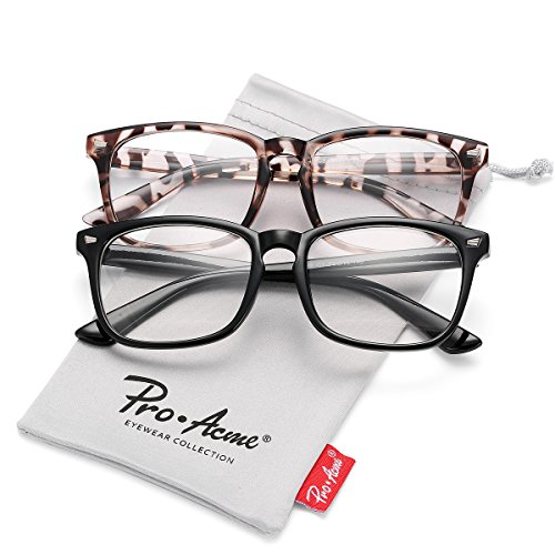 Pro Acme Non-prescription Glasses Frame Clear Lens Eyeglasses (Black ()