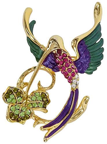 RUCINNI Hummingbird Brooch with Swarovski Crystals (6060GN)