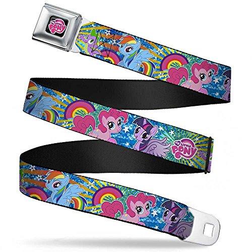 Sunburst Star - Buckle-Down Seatbelt Belt - Three Ponies & Spike Sunburst & Stars Blues/Multi Color - 1.0