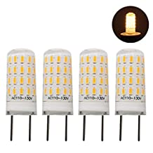 Rowrun 3W G8 Base LED Dimmable Silicone Crystal Corn Bulb, 20Watts Incandescent Replacement Bulb, Energy-Saving Bulb, 47/pcs Leds, 3014SMD, 300-350LM, Warm White(2700-3500k), AC110-130V, Pack of 4
