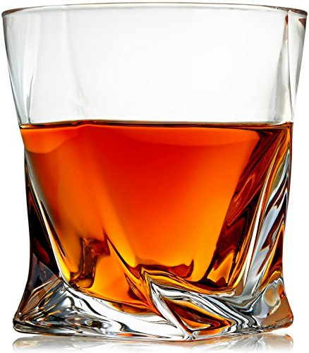 Venero Whiskey Glasses - Set of 4 - Premium Lead-Free Crystal Glass Cups - Large 10 oz Tasting Tumblers for Drinking Scotch, Bourbon, Irish Whisky, Brandy - Luxury Gift Box for Men or Women ()