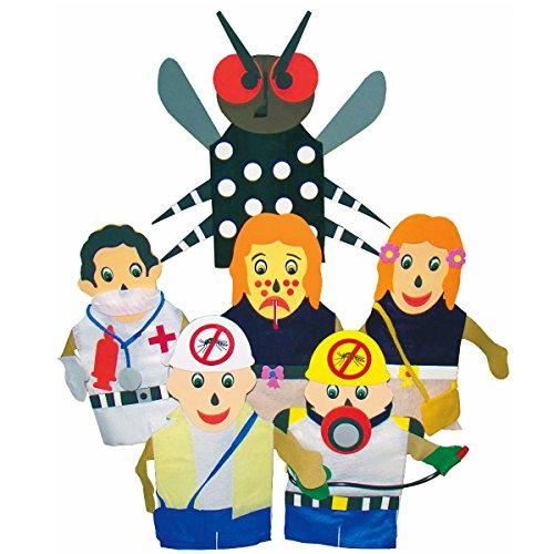Fantoches Combate a Dengue sem Expositor 6 Personagens Carlu Brinquedos