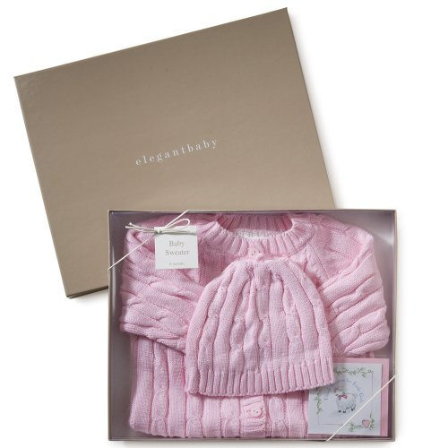 Elegant Baby Pink Cable Knit Boxed Sweater & Cap-6 Months