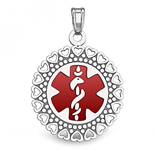 Sterling Silver Round Medical ID Charm or Pendant W/Red Enamel - 1 Inch X 1 Inch WITH ENGRAVING