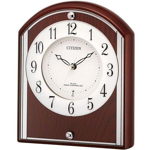 リズム時計 置き時計 電波 アナログ パルロワイエR704SR 木 茶 (半艶仕上) RHYTHM 4RY704SR06 B014QH29W4
