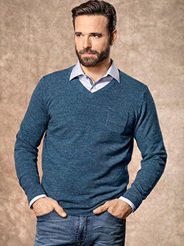 Walbusch Herren Pullover Blau einfarbig Gr. 50