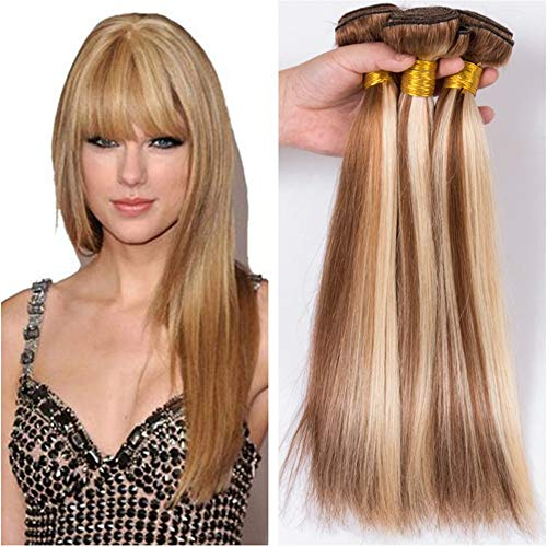 Vaovos Hair Silky Straight #8 613 Piano Color Virgin Brazilian Human Hair Bundles 3Pcs Lot Mixed Color Light Brown Blonde Two Tone Piano Color Human Hair Weaves Extensions (28+28+28)