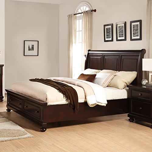 Roundhill Furniture Brishland Solid Wood Storage Bed