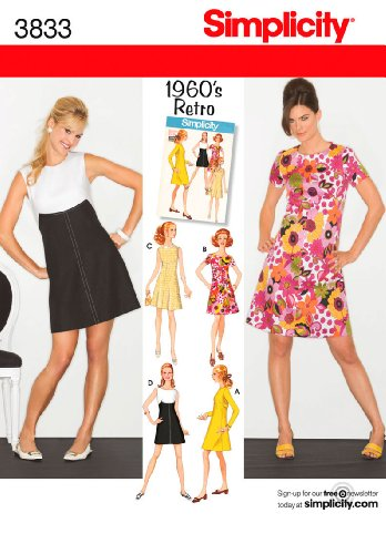 Simplicity 1960's Retro Pattern 3833 Misses Miss Petite Dress in Two Lengths Sizes 6-8-10-12-14 60s Sewing Patterns