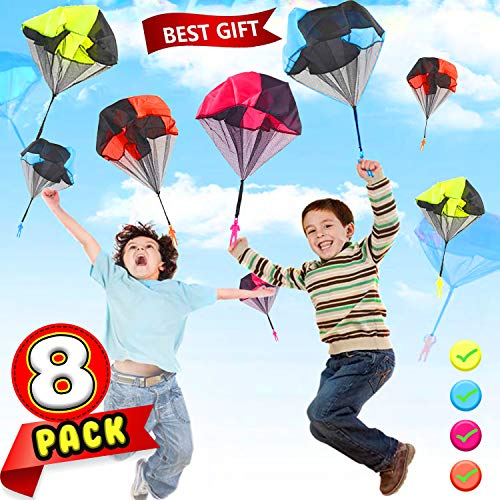 Camlinbo Parachute Toy-8 Pack Tangle Free Throwing Hand Throw Soldiers Parachute Man, Outdoor Children's Flying Toys for Kids Boys Girls Toddler No Battery nor Assembly Required by Camlinbo (Image #9)