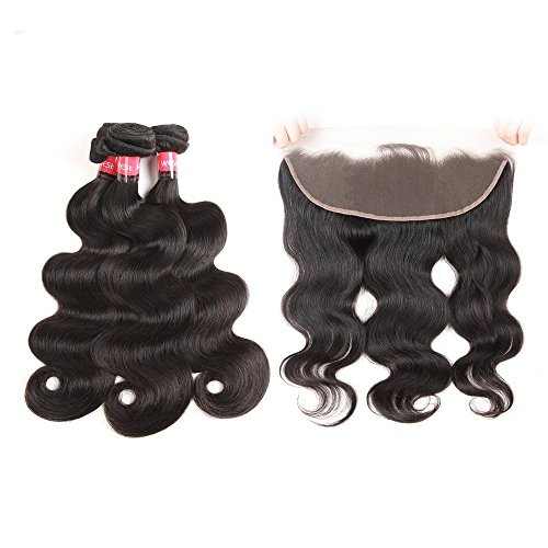West Kiss Hair Brazilian Body Wave Virgin Human Hair Extensions 3 Bundles With Lace Frontal Closure 13x4 Ear To Ear Unprocessed Natural Color (18 20 22+16)