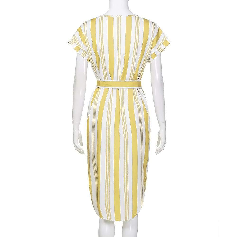 Corriee Ladies Bohemian Striped Short Sleeve Loose Fit Tie Waist Midi Dress Sundress Womens Summer Casual Dresses