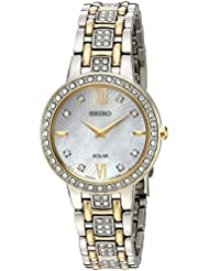 Seiko Womens Ladies Crystal Dress Quartz Stainless Steel Casual Watch, Color:Two Tone (Model: SUP360)