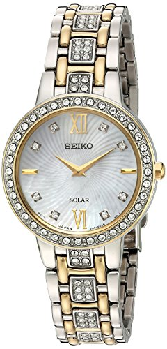 Seiko Women's Ladies Crystal Dress Japanese-Quartz Watch with Stainless-Steel Strap, Two Tone, 14 (Model: SUP360) ()