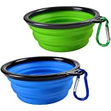 Sabuy Collapsible Dog Cat Travel Bowl, Set of 2, Portable Pets Pop-up Food Water Feeder Foldable Bowls with Carabiner Clip
