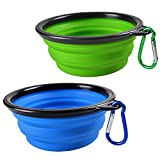 SABUY Collapsible Dog Cat Travel Bowl - Pet Pop-up Food Water Feeder Foldable Bowls with Carabiner Clip - Blue Green - Set of 2