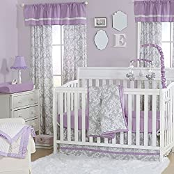 Grey Damask and Purple 4 Piece Baby Crib Bedding Set for girls by The Peanut Shell