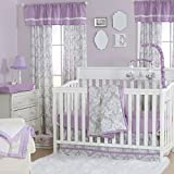 Grey Damask and Purple 3 Piece Baby Crib Bedding Set by The Peanut Shell Reviews