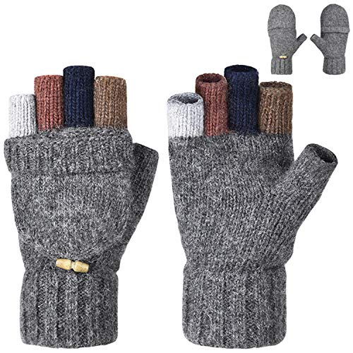 Maylisacc Warm Wool Convertible-Fingerless-Gloves Half-Finger-Mittens without Lining for Women Men Driving Grey