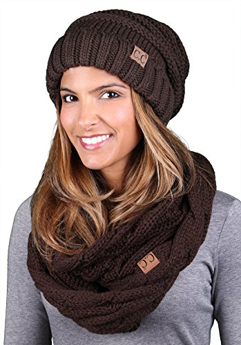 bHS-6100-07 Oversized Slouchy Beanie Matching Scarf Winter Set Bundle - Brown ()