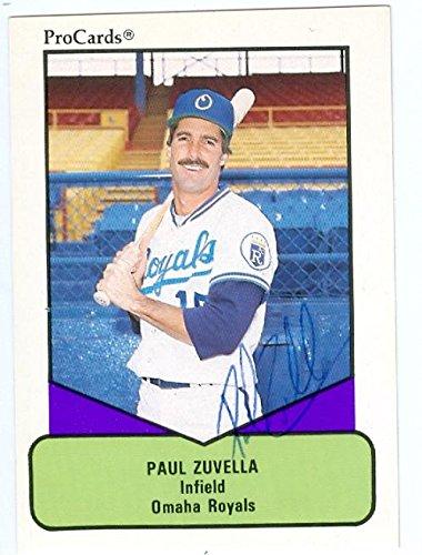 Paul Zuvella Autographed Baseball Card Omaha Royals 1990