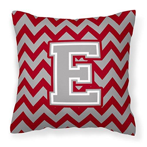 - Caroline's Treasures CJ1043-EPW1414 Letter E Chevron Crimson and Grey Fabric Decorative Pillow, 14