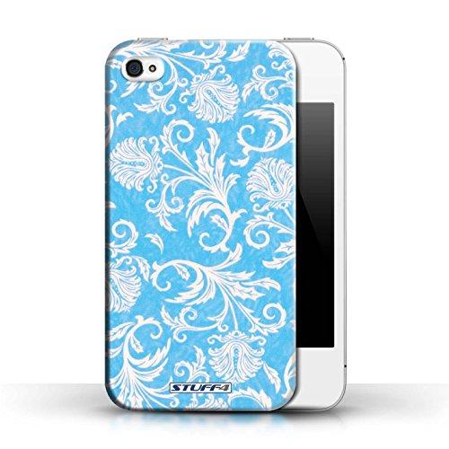 Etui / Coque pour Apple iPhone 4/4S / Fond Bleu conception / Collection de Fleurs