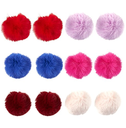 Pom Pom Fur Balls – 12-Piece Faux Fur Fluffy Balls, Perfec
