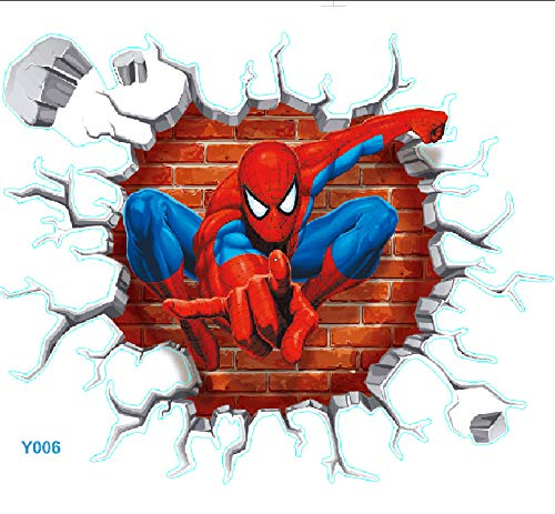 (3D Self-Adhesive Removable Break Through The Wall Vinyl Wall Stickers (Spiderman))