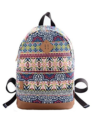 Douguyan - Fashio Mochila de Las Mujeres Mochilas de a diario mochila de universidad Mochilas escolares - E00133b Caqui Azul