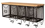 Linon AMME4DRW1 4-Basket Wall Organizer, 23.5' L x 7.25' W x 12.4' H, Brown, Black