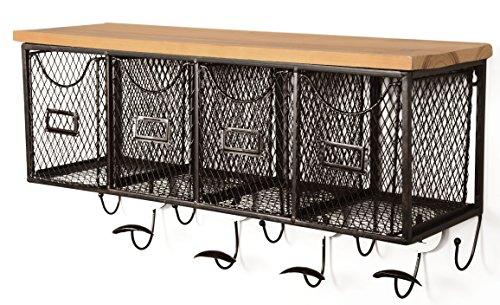 (Linon AMME4DRW1 4-Basket Wall Organizer, 23.5