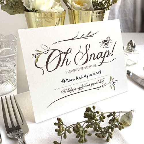 """4 Pack- Instagram Wedding Hashtag Signs - Blank Space to Write Your Own Hashtag - Folded Freestanding White Table Signs (4) - 6.25"""" x 4.5"""""""